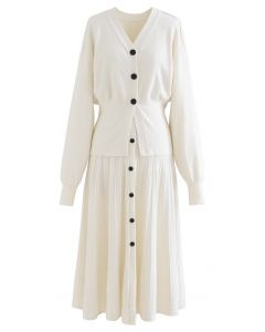 Comfy Versatile Knit Cardigan and Skirt Set in Cream