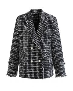 Tassel Edge Check Tweed Blazer in Black