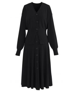 Comfy Versatile Knit Cardigan and Skirt Set in Black