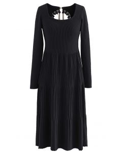 Cutout Tie Back Ribbed Knit Midi Dress in Black