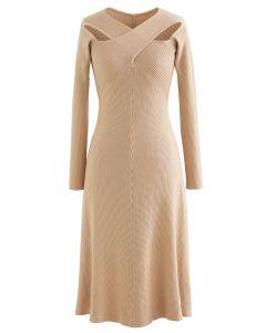Cross Wrap Cutout Rib Knit Midi Dress in Light Tan