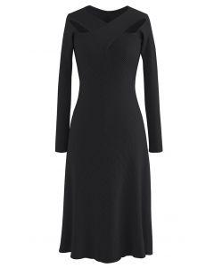 Cross Wrap Cutout Rib Knit Midi Dress in Black