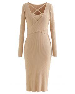 Crisscross Neck Wrap Rib Knit Bodycon Dress in Light Tan