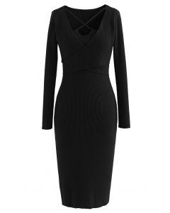 Crisscross Neck Wrap Rib Knit Bodycon Dress in Black