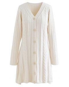 V-Neck Button Down Mini Knit Dress in Cream