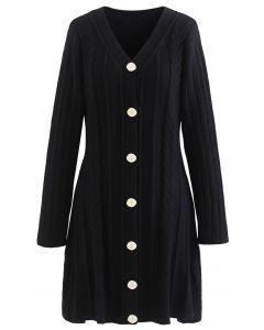 V-Neck Button Down Mini Knit Dress in Black
