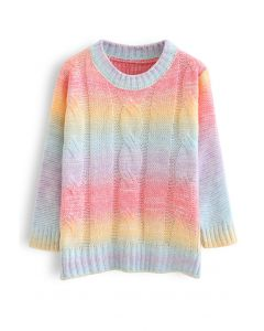 Rainbow Ombre Cable Knit Sweater