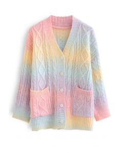 Rainbow Ombre Button Down Cable Knit Cardigan
