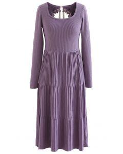 Cutout Tie Back Ribbed Knit Midi Dress in Purple