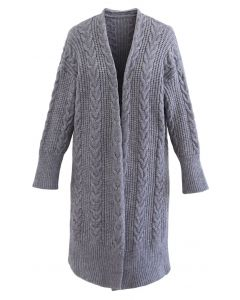 Cable Knit Open Front Longline Cardigan in Smoke