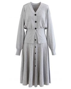 Comfy Versatile Knit Cardigan and Skirt Set in Grey