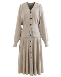 Comfy Versatile Knit Cardigan and Skirt Set in Taupe