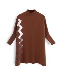 ジグザグスパンコールニットケープセーター キャラメル