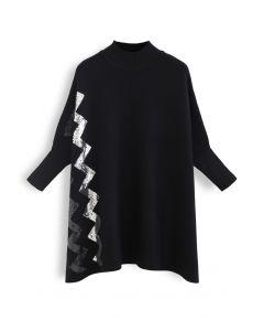 ジグザグスパンコールニットケープセーター ブラック