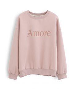 アモーレプリントフリーススウェットシャツ ピンク
