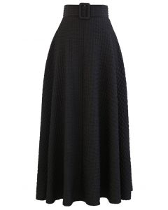 リップルエンボスAラインマキシスカート ブラック