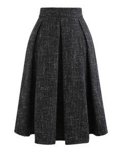 フレアプリーツウールブレンドスカート ブラック