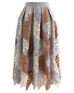 マルチカラー葉柄クロッシェレースプリーツスカート