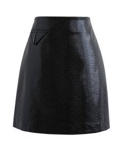 クロコダイルフェイクレザーミニスカート ブラック