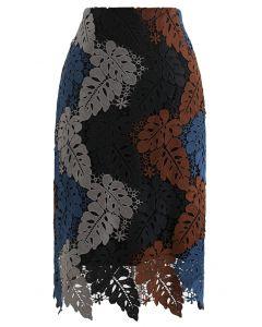 マルチカラー葉柄クロッシェレーススカート スモックグレー
