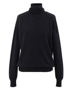 タートレネックリブ編みニットセーター ブラック
