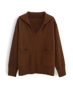 Vネックフラップカラーポケットセーター ブラウン