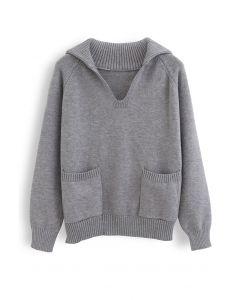Vネックフラップカラーポケットセーター グレー