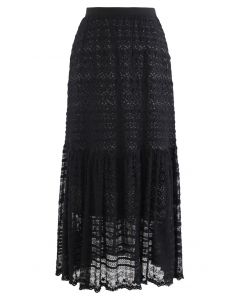 花柄刺繡レースオーバーレイマキシスカート ブラック