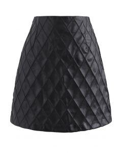 ダイヤモンド柄フェイクレザースカート ブラック