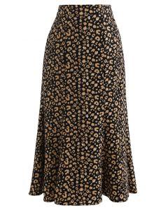 レオパード柄フレア裾ベルベットスカート