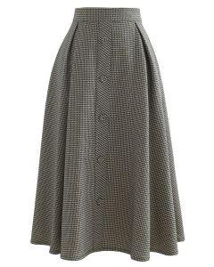 テクスチャードフロントボタンプリーツスカート