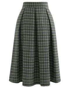 ウール混プリーツチェック柄スカート グリーン