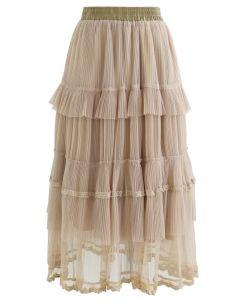ダブルレイヤードプリーツスカート サンド