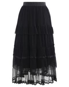 ダブルレイヤードプリーツスカート ブラック
