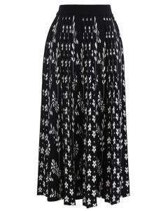 花柄プリーツニットスカート ブラック