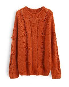 ポンポンアイレットチャンキーセーター オレンジ