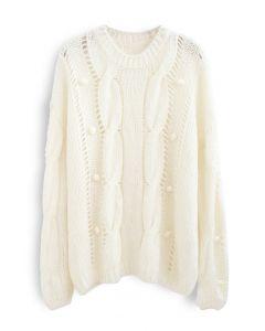 ポンポンアイレットチャンキーセーター ホワイト