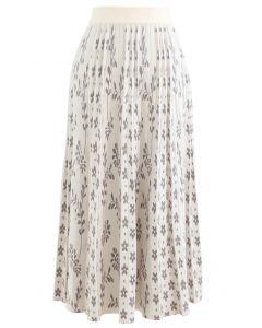 花柄プリーツニットスカート アイボリー