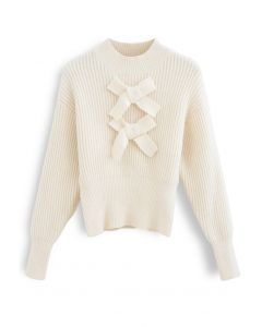 Patched Bowknot Long Sleeves Rib Knit Sweater