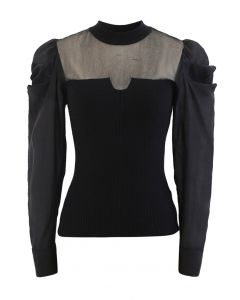 Mesh Spliced Puff Sleeves Knit Top in Black