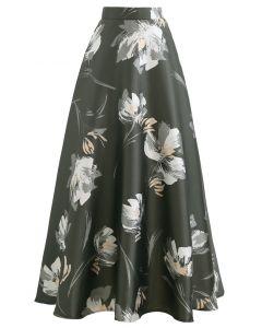 花柄ジャカードマキシスカート オーリブ