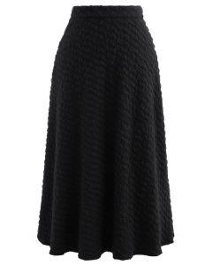 エンボスメッシュフレアスカート ブラック