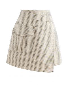 Patched Pocket Flap Tweed Bud Skirt in Gold