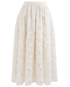 Daisy Sequin Double-Layered Mesh Skirt in Cream