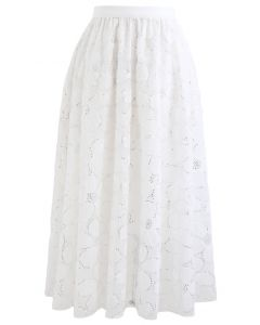 Daisy Sequin Double-Layered Mesh Skirt in White