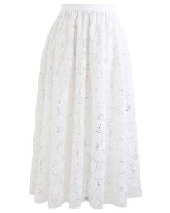 花柄スパンコールダブルレイヤードメッシュスカート ホワイト