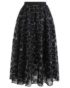 花柄スパンコールダブルレイヤードメッシュスカート ブラック