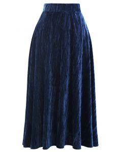 ベルベットフレア裾スカート ネイビー