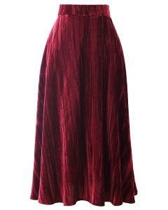 ベルベットフレア裾スカート ワインレッド