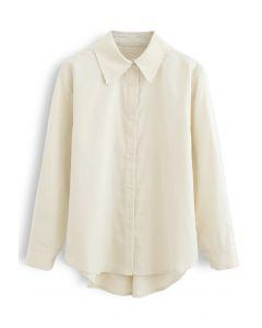 刺繡カラーボタン付きシャツ アイボリー